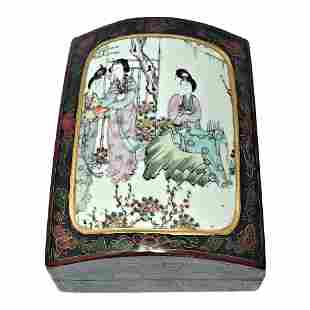 CHINESE LACQUER BOX PORCELAIN COVER FAMILLE ROSE