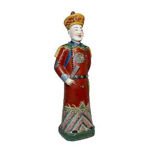 CHINESE LARGE PORCELAIN FIGURE EMPEROR