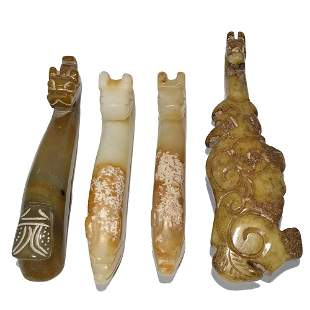 LOT OF 4 CHINESE CARVED JADE BELT BUCKLE HOOKS