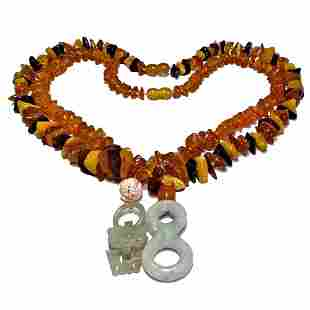 LOT 2 CHINESE NECKLACES NATURAL AMBER JADEITE CORAL