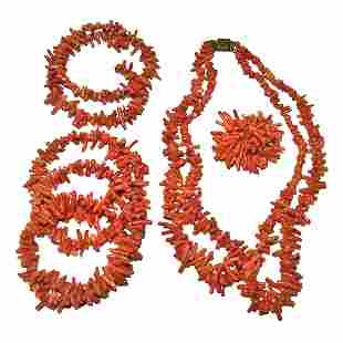 LOT OF 4 ANTIQUE NATURAL MEDITERANEAN CORAL JEWELRY