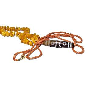 LOT OF TWO CHINESE NECKLACES NATURAL AMBER, CORAL, DZI