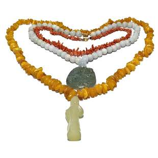 LOT OF 3 CHINESE NECKLACES NATURAL AMBER JADEITE CORAL