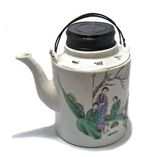 CHINESE PORCELAIN TEAPOT LADIES INSCRIBED