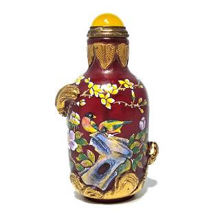 GILDED SCULPTED ENAMELED CHINESE GLASS SNUFF BOTTLE