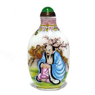 SUPERB CHINESE ENAMEL SNUFF BOTTLE IMMORTALS