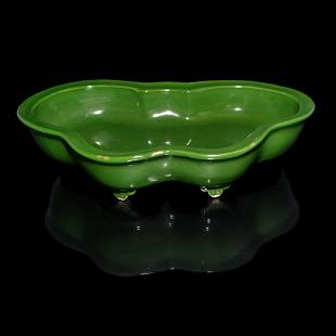 CHINESE GREEN GLAZED BUTTERFLY SHAPED BRUSH WASHER