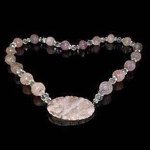 CHINESE CARVED ROSE QUARTZ STERLING SILVER NECKLACE