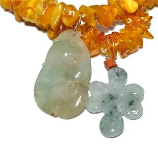 LOT OF 2 CHINESE NATURAL AMBER JADEITE NECKLACES