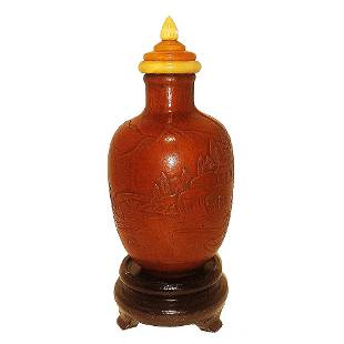 CHINESE NATURAL MOLDED CARVED GOURD SNUFF BOTTLE QING