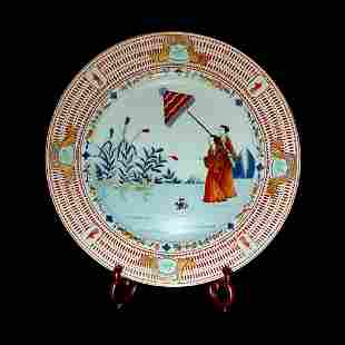 RARE CHINESE EXPORT CHARGER PARASOL PATTERN