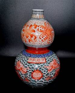 FINE CHINESE WUCAI VASE GOURD IMPERIAL DRAGON