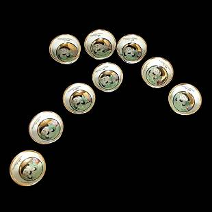 A SET OF KUTANI 9 GILDED SAKE CUPS WITH FIGURES