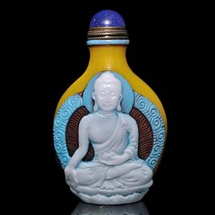 PEKING GLASS OVERLAY SNUFF BOTTLE MEDICINE BUDDHA