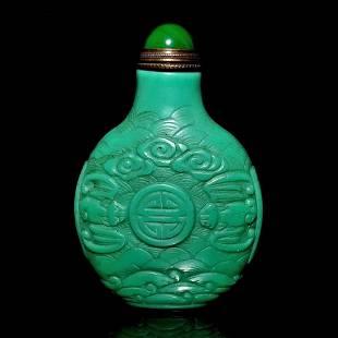 VERY FINE CARVED GREEN GLASS SNUFF BOTTLE QIANLONG