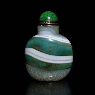 RARE COLORS GREEN WHITE BANDED AGATE SNUFF BOTTLE