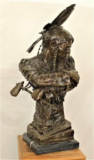 Large Native American Bronze