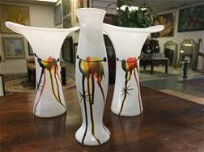 Trio of Vintage German Art Glass Splatter Vases