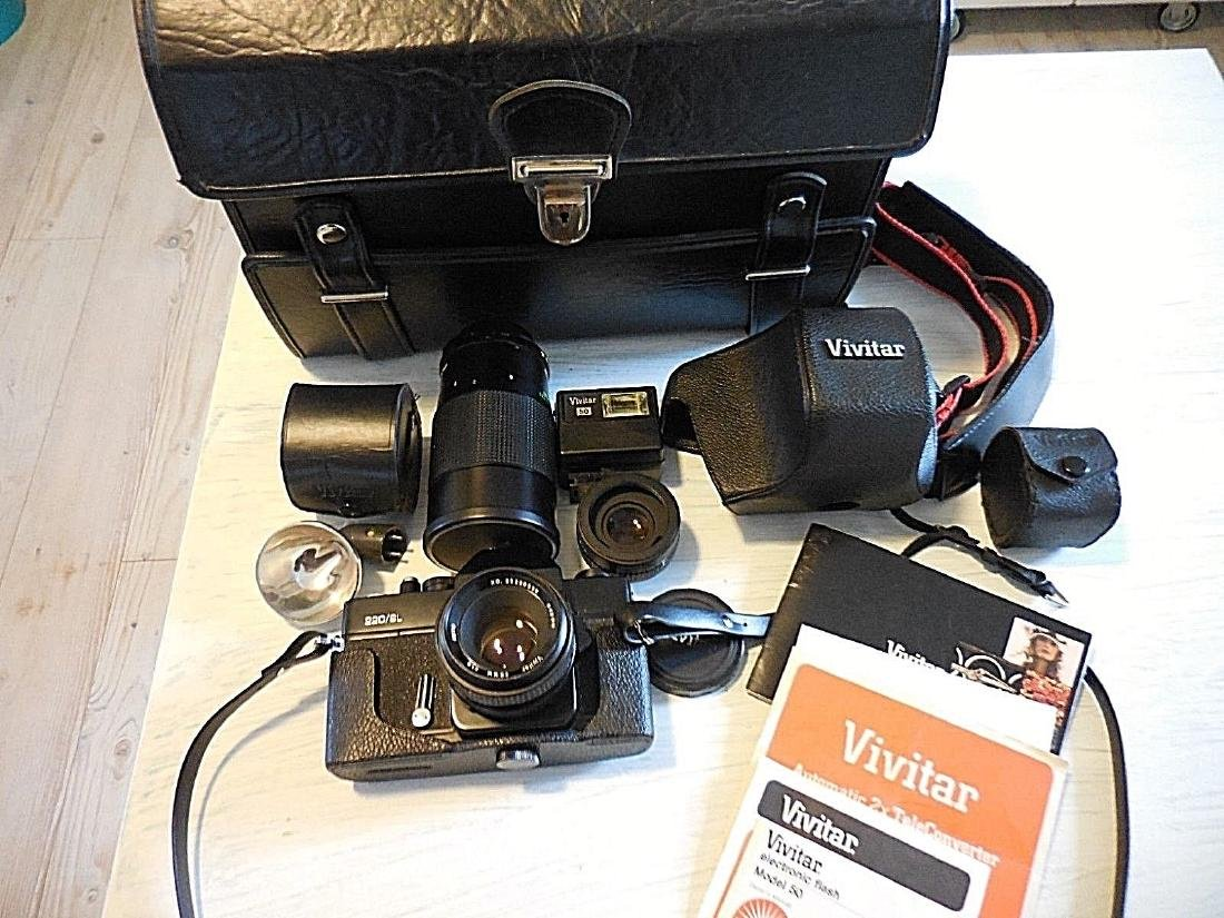 Vivitar vintage 220/SL camera bundle 3 lenses flashes
