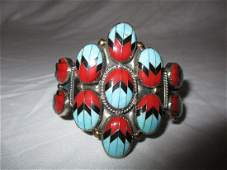 Vintage Native American Turquoise and Coral Metal Cuff