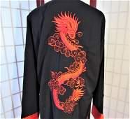 Embroidered silk dragon jacket sz XL