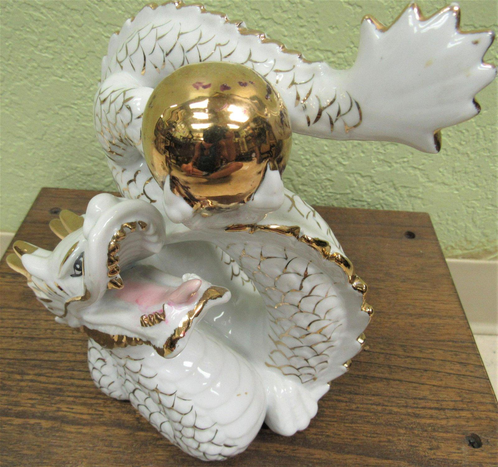 Vintage Chinese porcelain gilt dragon
