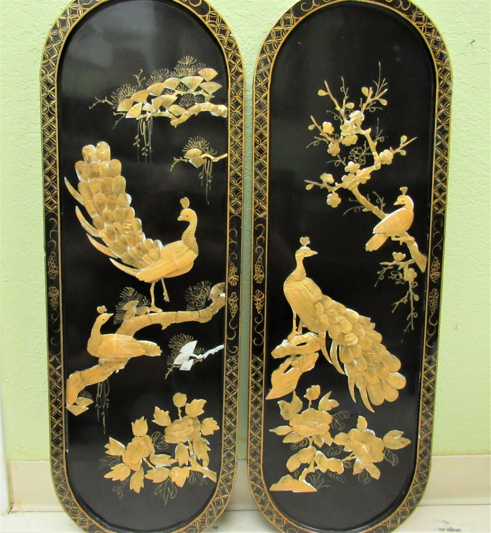 Pair vintage Chinese inlaid peacock panels