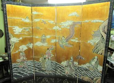 Antique large Chinese inlaid folding screen