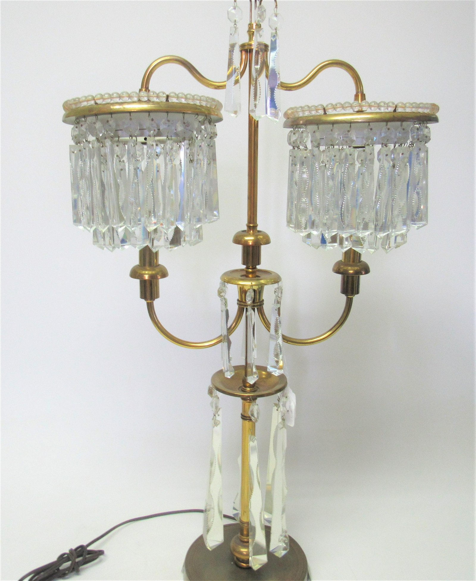 Hollywood Regency style hanging crystals lamp