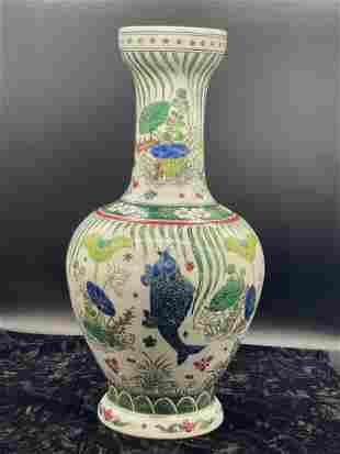 Famille rose fish pattern Guanyin vase made in Kangxi
