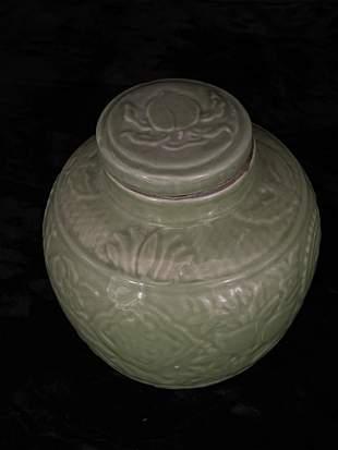 Celadon Carved Lotus Leaf Jar Made in Qianlong Period