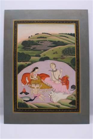 Kangra Pahari Indian Miniature Painting depicting