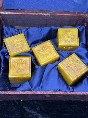 The dragon Royal seal set ,Tianhuang stone jade of the
