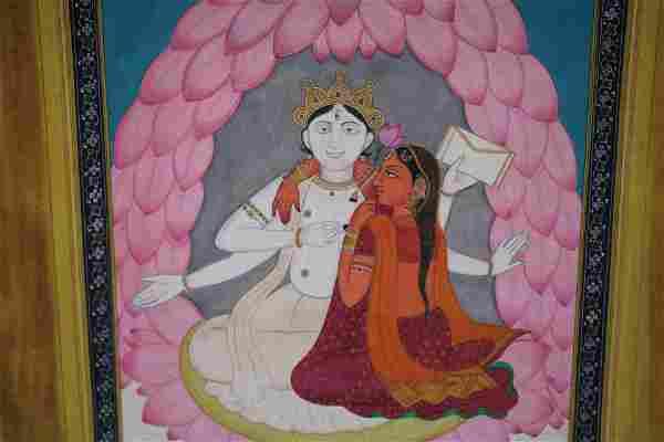 Kangra Pahari indian miniature painting depicting Shiva