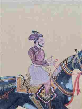 Sikh School Indian Miniature painting depicting saint