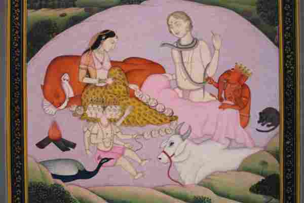 Mandi School Indian Miniature painting depiction of a