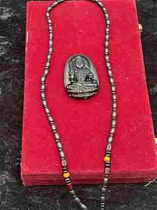 Natural Obsidian Manjushri buddha pendant 35 gms, width