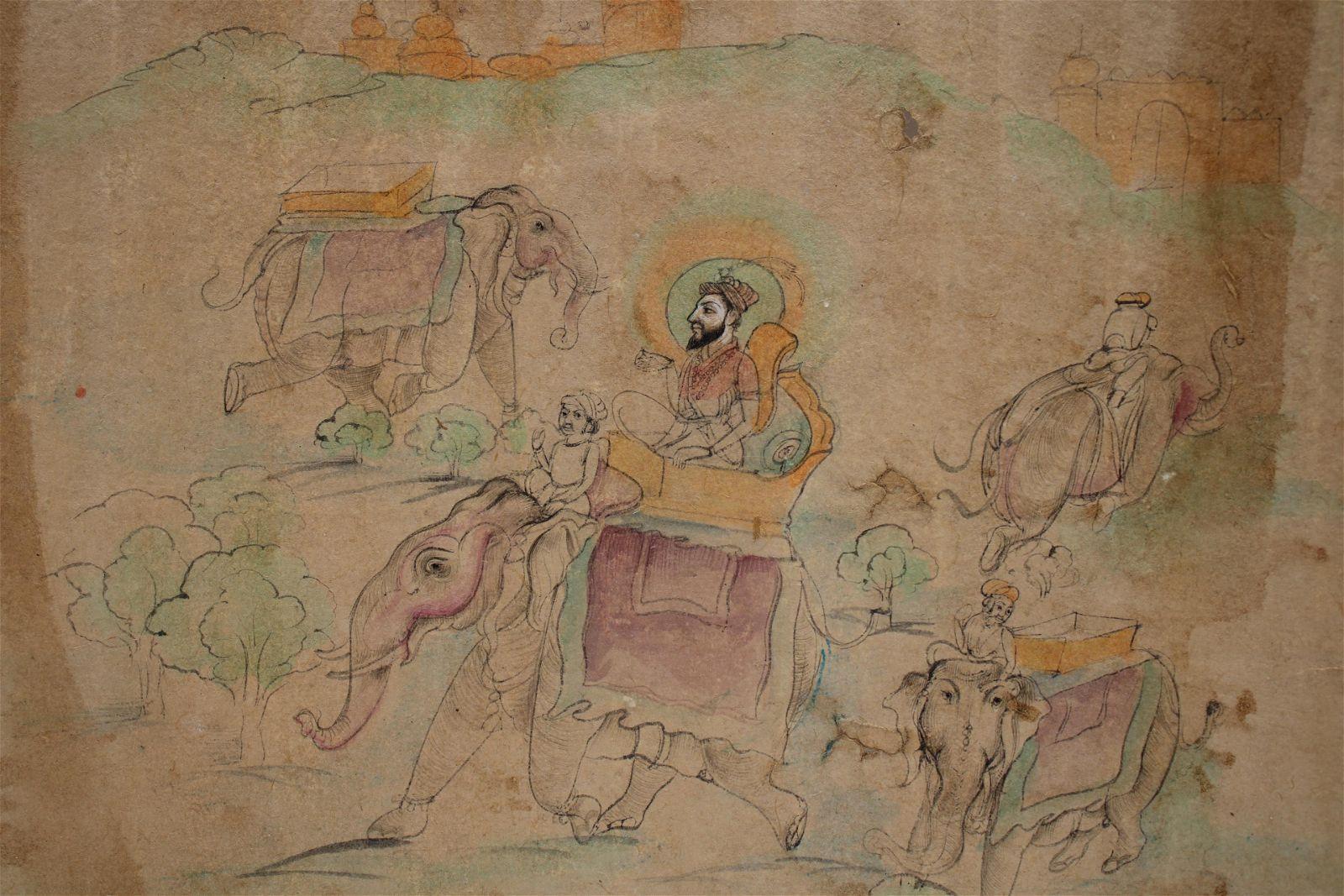 Udaipur School Indian miniature painting depicting