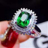 18K Gold 1.56ct Tsavorite Green Ring