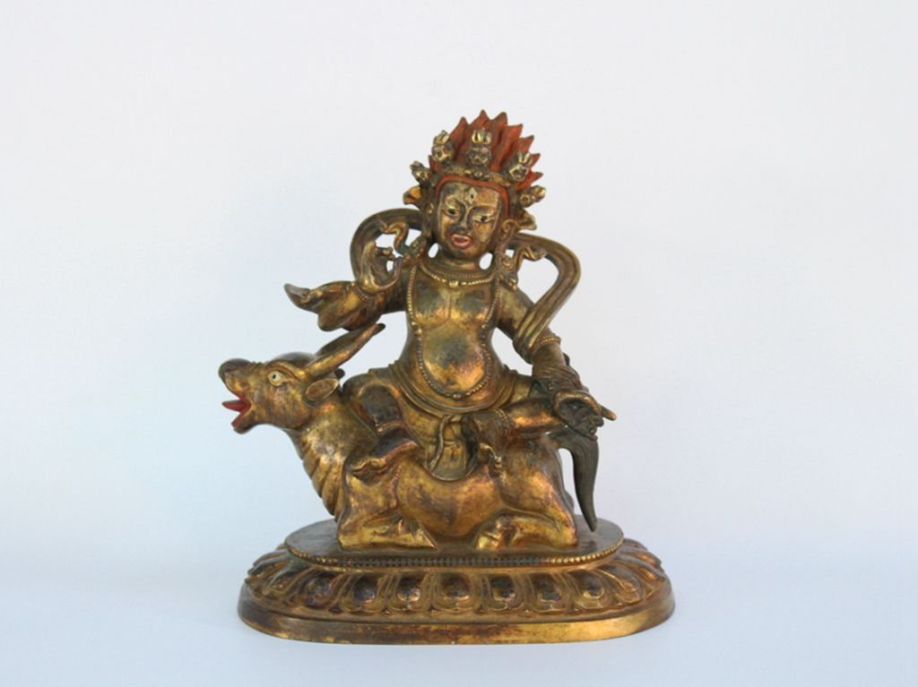 Chinese Antique Qing Dynasty Tibetan Gilt Buddha Statue