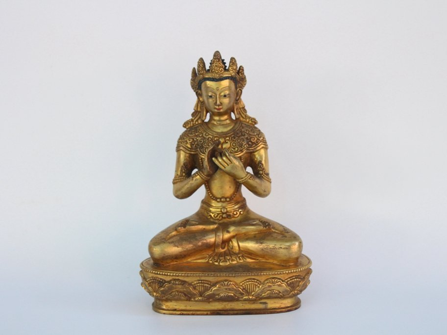 Chinese Antique Qing Dynasty Gilt Buddha Statue