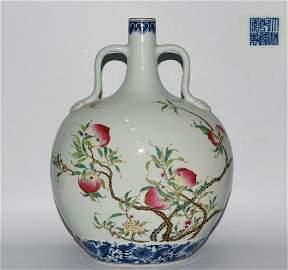 13.38inch Chinese Antique Porcelain Qianlong Mark Vase