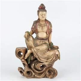 Chinese Qing Dynasty Shoushan Stone Guanyin Statue