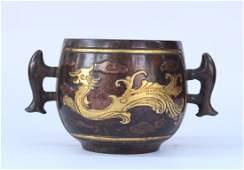 Chinese Antique Bronze Gilt Incense Burner