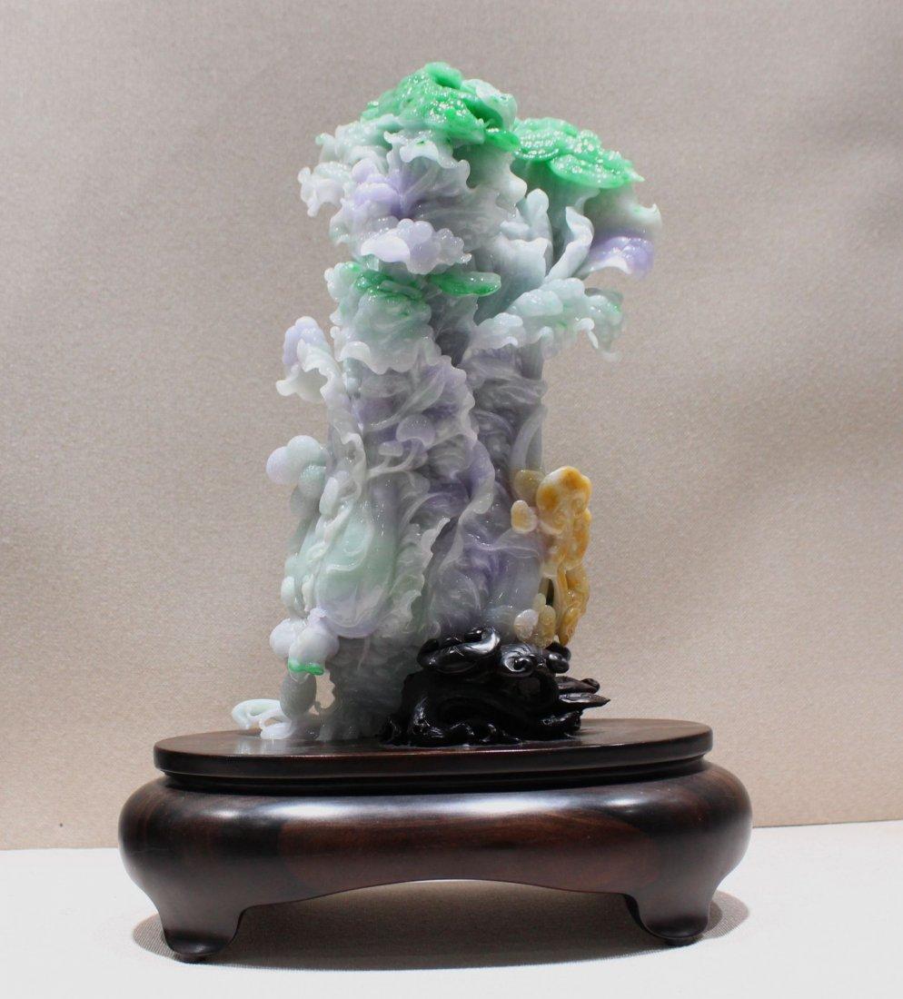 A Jadeite Jade Carving Cabbage Landscape Figurin Statue