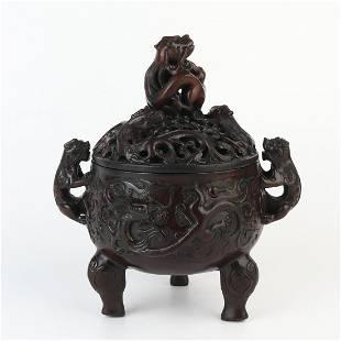 Chinese Sandalwood Wood Carved Incense Burner Censer