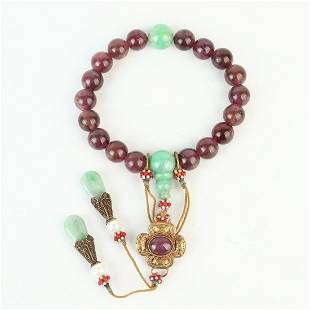Chinese Natural Tourmaline Carved 18 Beads Bracelet
