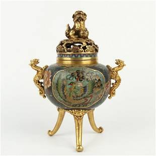 Chinese Bronze Gilt Cloisonne Incense Burner Censer