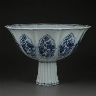 Chinese Blue And White Porcelain Bowl Dragon Phoenix