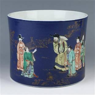 Chinese Porcelain Figures Brush Pot